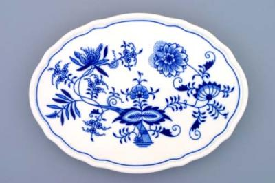 Zwiebelmuster Oval Tray with Three Feet 24.5cm, Original Bohemia Porcelain from Dubi