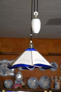 Zwiebelmuster Lamp Rectracted with Decorative Balance Weight, Original Bohemia Porcelain from Dubi
