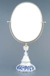 Zwiebelmuster Silver Oval Mirror Revolving, Original Bohemia Porcelain from Dubi