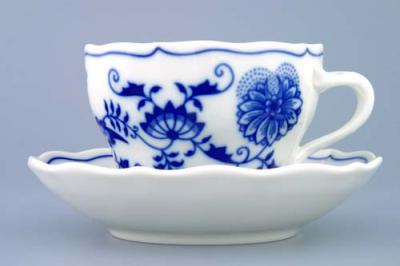 Zwiebelmuster Cup B + Saucer ZB 0.20L + 14cm, Original Bohemia Porcelain from Dubi