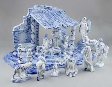 Zwiebelmuster Nativity Scene, Original Bohemia Porcelain from Dubi