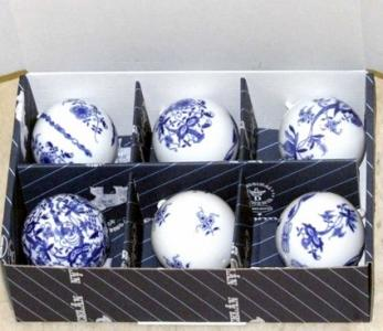 Zwiebelmuster Christmas Decoration Small Ball Set 6pcs, Original Bohemia Porcelain from Dubi