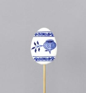Zwiebelmuster Egg stick Decoration 5.5cm, Original Bohemia Porcelain from Dubi