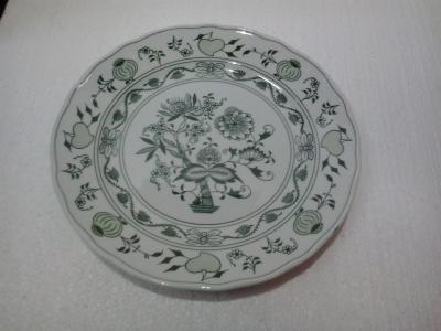 Green Zwiebelmuster Flat Plate 24cm, Bohemia Porcelain from Dubi