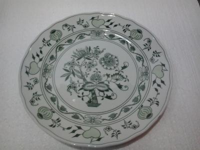 Green Zwiebelmuster Flat Plate 26cm, Bohemia Porcelain from Dubi