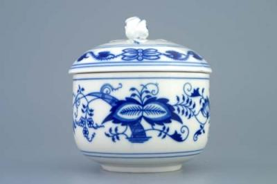 Zwiebelmuster Sugar Container without Handles + Lid, Original Bohemia Porcelain from Dubi