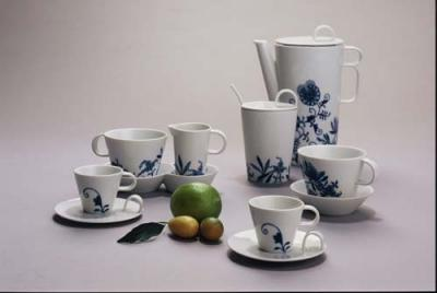Zwiebelmuster Coffee Set Bohemia Cobalt, Bohemia Porcelain from Dubi