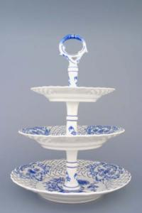 Zwiebelmuster 3pcs Tier Stand Perforated 36cm, Original Bohemia Porcelain from Dubi