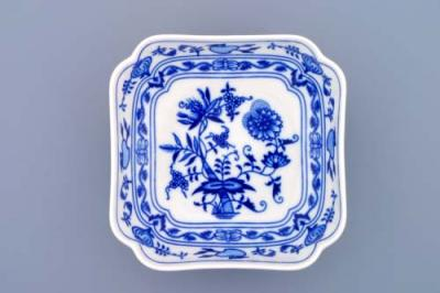 Zwiebelmuster Square Salad Dish Deep 15cm, Original Bohemia Porcelain from Dubi
