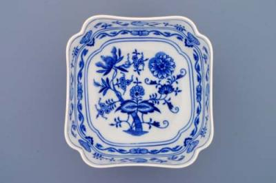 Zwiebelmuster Deep Square Salad Dish 18cm, Original Bohemia Porcelain from Dubi