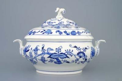 Zwiebelmuster SoupTureen oval 3L, Original Bohemia Porcelain from Dubi