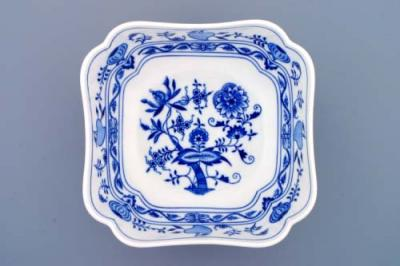 Zwiebelmuster Deep Square Salad Dish 21cm, Original Bohemia Porcelain from Dubi