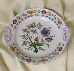 Zwiebelmuster Cake Plate with Handles 28cm,NATURE Original Bohemia Porcelain from Dubi