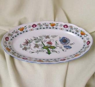 Zwiebelmuster Fish Dish Oval 35cm, NATURE Original Bohemia Porcelain from Dubi