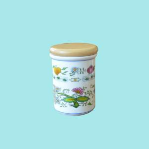 Zwiebelmuster Large Container C with Wooden Cover,Nature Original Bohemia Porcelain from Dubi