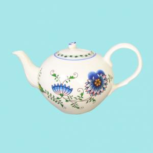 Zwiebelmuster Tea Pot with Strainer 0.95L, Nature Original Bohemia Porcelain from Dubi