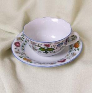 Zwiebelmuster Cup C/1 with Saucer ZC/1,Nature Original Bohemia Porcelain from Dubi