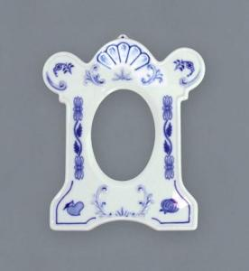 Zwiebelmuster Photo Frame standing 17cm, Original Bohemia Porcelain from Dubi