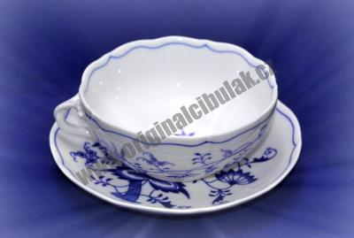Zwiebelmuster Cup + Saucer 0.30L + 17.5cm, Original Bohemia Porcelain from Dubi