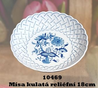 Zwiebelmuster Dish Pentagonal Perforated 28cm, Original Bohemia Porcelain from Dubi
