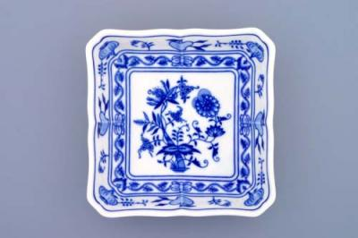 Zwiebelmuster Salad Dish Square 15cm, Original Bohemia Porcelain from Dubi